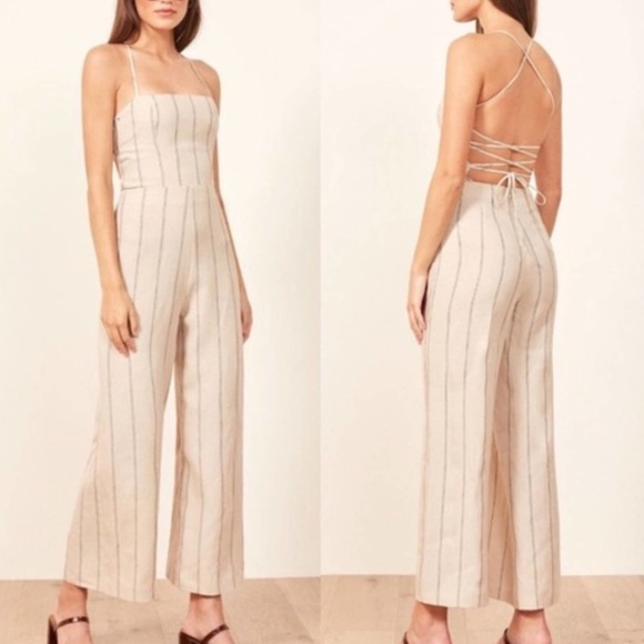 Reformation Jager Lace-Up Back Linen Jumpsuit NWT
